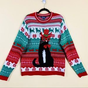 33Degrees Kitty Cat Ugly Christmas Holiday Sweater